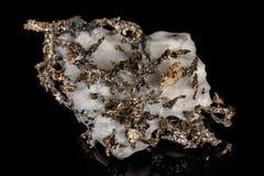 Makro- kamienny kopaliny srebra metal w skale na czarnym tle zdjęcia stock
