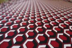 Makro- kolorowy honeycomb wzór na tkaninie Zdjęcie Royalty Free