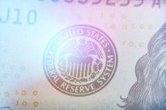 Makro- kontur żakiet ręka stanów rezerwy federalnej światła jednoczący tonowanie Zdjęcia Stock