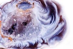Makro- kopalina kamienia agata pączek na białym tle Zdjęcia Royalty Free