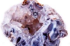 Makro- kopalina kamienia agata pączek na białym tle Zdjęcie Royalty Free