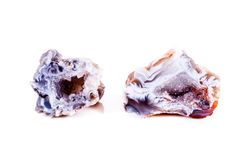 Makro- kopalina kamienia agata pączek na białym tle Zdjęcie Stock