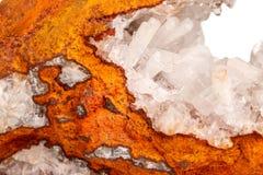 Makro- kopalina kamienia kryształów Hemimorphite skała na białym backgr obrazy royalty free