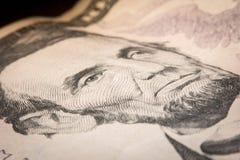 Makro Lincoln Five Dollars Royaltyfria Bilder