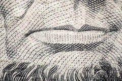Makro Lincoln Five Dollars Arkivbilder