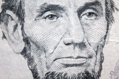 Makro Lincoln Five Dollars Arkivfoton
