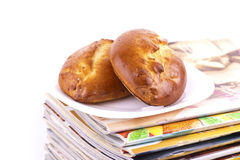 makro- magazynów kulebiaków talerza sterty biel Obraz Stock