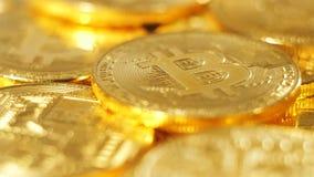 Makro- monety rozsypisko Na całym świecie Płatniczy system Bitcoin zdjęcie wideo