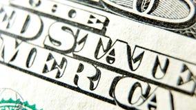 Makro nah oben vom Dollarschein US 100 Stockfotografie