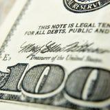 Makro nah oben vom Dollarschein US 100 Lizenzfreies Stockfoto