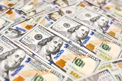 Makro nah oben von Ben Franklin-` s Gesicht auf dem Dollarschein US $100 stockfoto
