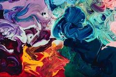 Makro nah oben von der unterschiedlichen Farbölfarbe buntes Acryl Konzept der modernen Kunst Lizenzfreies Stockfoto
