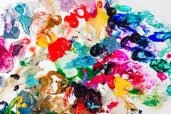 Makro nah oben von der unterschiedlichen Farbölfarbe buntes Acryl Konzept der modernen Kunst Lizenzfreie Stockfotografie