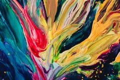 Makro nah oben von der unterschiedlichen Farbölfarbe buntes Acryl Konzept der modernen Kunst Stockbild