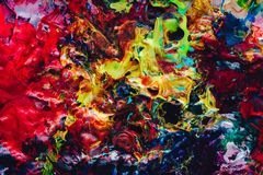 Makro nah oben von der unterschiedlichen Farbölfarbe buntes Acryl Konzept der modernen Kunst palette Lizenzfreie Stockfotos