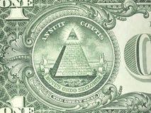 Makro- odwrotności jeden dolara amerykańskiego rachunek Zdjęcia Royalty Free