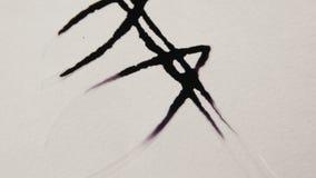 Makro-Person Drops Black Ink Spreading in der Blumen-Blumenblatt-Form stock video footage