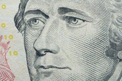makro- portret Alexander Hamilton: Ameryka?ski m?? stanu i jeden Zak?ada ojcowie Stany Zjednoczone na $10 dolar?w bankn zdjęcia stock
