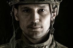 Makro- portret przystojny wojskowy Zdjęcia Royalty Free