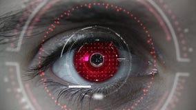 Makro roter futuristischer HUD-Augenneonplan lizenzfreies stockfoto