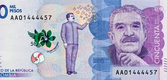 Makro 2016 sedel, colombianska måndag för closeup för Colombia 50000 peso arkivbilder