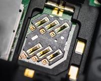 Makro- SIM slot na kartę Fotografia Stock