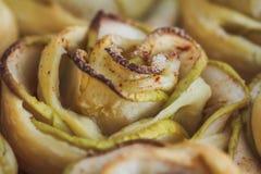 Makro- smakowity domowej roboty jabłczany tort Fotografia Royalty Free