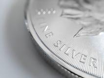 Makro som är nära upp av ett rent silverguldtackamynt arkivfoton