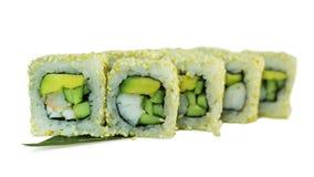 Makro som skjutas av sushi Japansk restaurang, sushi, orientalisk tradition Arkivbilder