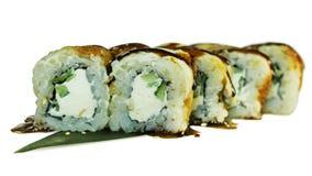 Makro som skjutas av sushi Japansk restaurang, sushi, orientalisk tradition Royaltyfri Fotografi