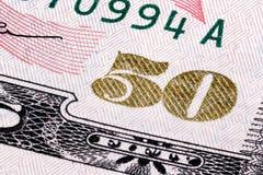 Makro Staplungsschuß von Nr. 50 Fragment von 50 Banknoten Stockbilder