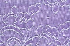 Makro- strzał biały i błękitny koronkowy tekstury materia Zdjęcia Royalty Free