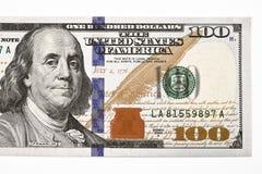 Makro- strzał nowi 100 dolarowy rachunek obraz stock