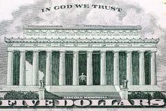 Makro- strzał pięć dolarowy rachunek Zdjęcie Stock