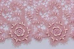 Makro- strzał różowa koronkowa tekstura Fotografia Royalty Free