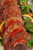 Makro- strzał ryba, pomidoru i cytryny plasterki, Zdjęcie Stock