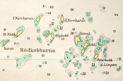 Makro- strzał stara morska mapa, wyszczególnia Sztokholm archipelag Obraz Royalty Free
