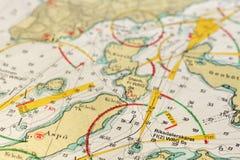 Makro- strzał stara morska mapa, wyszczególnia Sztokholm archipelag Zdjęcie Royalty Free