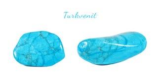 Makro- strzelanina naturalny gemstone Naturalny kopalny klejnotu kamień błękitny howlite gemstone - turkvenit - Odosobniony przed Zdjęcia Stock