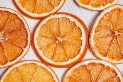 Makro- suche pomarańcze Mieszkanie nieatutowy, odgórny widok obrazy stock