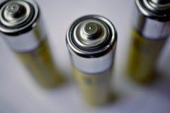 Makro- szczegół odosobnione żółte baterie jako symbol akumulująca energia i przenośna władza Obraz Royalty Free