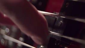 Makro- sznurka gitarzysta bawić się bas zbiory wideo