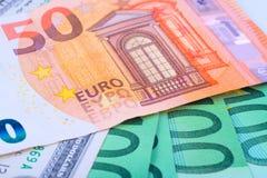 Makro- tło Europejski waluta euro Zdjęcia Stock