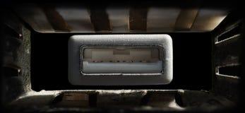 Makro-USB-Verbindungsstück und -hafen stockfotos