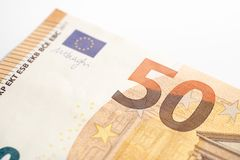 Makro von Euro fünfzig lizenzfreie stockfotos