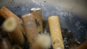 Makro von Zigarettenkippen stock video