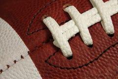 Makro- widok futbol amerykański Gemowej piłki lampasy i koronki Fotografia Royalty Free