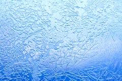Makro- widok marznący szklany okno Lodów kwiaty, Mrozowa tekstura Zimy pogodowy pojęcie obraz stock