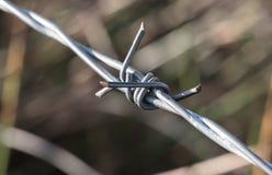 Makro- widok widzieć na kontrola graniczna punkcie skrzyżowania drut kolczasty fotografia stock