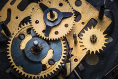 Makro- widok zegarowy mechanizm Fotografia Stock